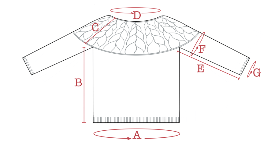 Schematic line drawing of A River Wild Pullover