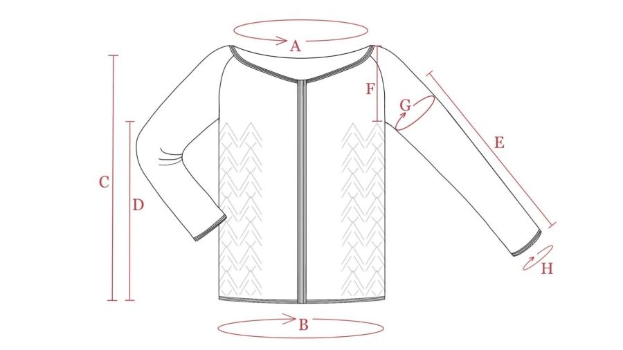 Hand drawn cardigan schematic