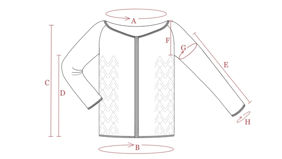 Hand drawn cardigan schematic
